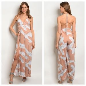 Pants - Off white blush jumpsuit with slit & halter top